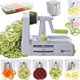 Brieftons 7-Blade Spiralizer: Strongest-and-Heaviest Duty Vegetable Spiral Slicer, Best Veggie Pasta Spaghetti Maker for Low