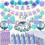 Mermaid Party Supplies - Girls Birthday Party Decorations, Contain a Mermaid Banner, 9 Tissue Pom Poms, 2 Foil Curtains, 15 T