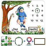 Qualitish Baby Monthly Milestone Blanket Boy Girl, Unisex baby milestone blanket | 40X50 inch Large Premium Extra Soft, Cozy