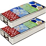 Ziz Home Zippered Under Bed Storage Bag 2 Pack   Soft Breathable Anti-Mold Fabric   Used for Underbed Clothes Storage Linen S