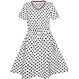 Girls Dress Dot Bow Tie Short Sleeve Summer Beach Sundress Size 4-12 Years