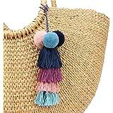 Nofinis Colorful Pom Pom Tassel Bag Charm, Boho Tassel Handbags Pendant Key Chain for Women (Style 1)