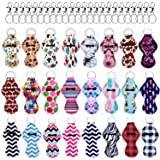 Duufin 24 Pieces Chapstick Holder Keychains Lipstick Holder Keychains with 24 Pieces Metal Clip Cords Suitable for Chapstick