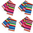 Habbi Mexican Table Runner 4Pack 14 x 110 Inches Large Mexican Theme Party Decoration for Cinco de Mayo Fiesta Party Serape T