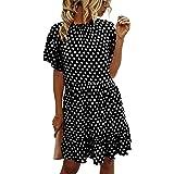 Angashion Women's Dresses 2020 Summer Casual Short Sleeve Polka Dot Ruffle A Line Babydoll Swing Mini Tunic Dress