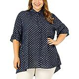 Agnes Orinda Women's Plus Size Button Down Shirts Chiffon Short Sleeve Polka Dots Blouses
