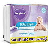 BABY LOVE Everyday Wipes (3 packs of 3x80), 720 wipes total