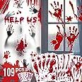 Bloody Handprint Footprint Halloween Decorations - 109 PCS Halloween Window Clings, 8 Sheets Bloody Wall Decal Floor Clings w