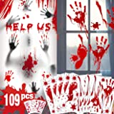 Bloody Handprint Footprint Halloween Decorations - 109 PCS Halloween Window Clings, 8 Sheets Bloody Wall Decal Floor Clings w