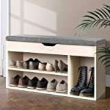 Shoe Bench, Artiss Wooden Entryway Shoe Storage Cabinet with Fabric Seat Stool