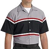 Red Kap Men's Technician Shirt, Grey/Black with Red/White, Short Sleeve