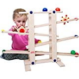 Trihorse Wooden Marble Run, 19 Inches Tall - Sustainable Toys for Toddlers from 1 Year Old - 6 Ball Tracks Made of Premium Be