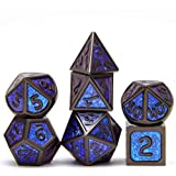 Tbrand DND Metal Dice Set Role Playing 7PCS Dungeons and Dragons Dice Pathfinder RPG Games DND Dice ,Metal dice Set d&d(Blue)