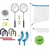 Franklin Sports Fun 5 Combo Set - Badminton, Volleyball, Flip Toss, Flying Disc - Horseshoes or Ring Toss