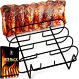 Rib Racks for Smoking - BBQ Rib Rack for Gas Smoker or Charcoal Grill - Non Stick Rib Rack for Grilling & Barbecue - Holds 5