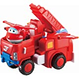 Super Wings - Jett's Robo Rig, Transforming Toy Truck and Airplane Vehicle Set | Includes a Red Transform-A-Bot Jett Figure,