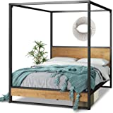 Zinus Suzanne Queen Ironline Canopy Metal and Wood Four Poster Bed Frame - Industrial