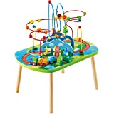 Hape E3824 Jungle Adventure Kids Toddler Wooden Bead Maze & Railway Train Track Play Table Toy for Ages 18 Months and Up Mult