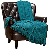 Chanasya Super Soft Textured Knitted Throw Blanket Warm Cozy Plush Lightweight Woven Blanket for Bed Sofa Chair Couch Cover L