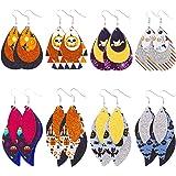 Halloween Earrings, MTSCE Faux Leather Earrings 8-12Pair Bat Ghost Witch Hat Glitter Earrings Halloween for women girls kids