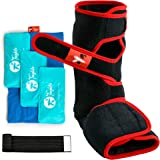 Ankle Ice Pack Wrap - 4 in 1 Ankle Boot for Sprained Ankle, Achilles Tendon Injury, Plantar Fasciitis & Bursitis - 3 Ice Pack