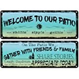 flinelife Welcome to Our Patio Metal Sign, Outdoor Decoration for Patio, Porch, Pool,Outdoor Wall Decor