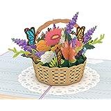 Lovepop Flower Basket Pop Up Card, Card for Mom, Card for Wife, 3D Card, Flower Card, Spring Card, Greeting Card, Thank You C