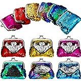 12 Pieces Sequin Coin Purses Reversible Sequin Mini Wallets Pouches Colorful Sequins Bags for Party Favor Christmas