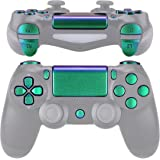 eXtremeRate D-pad R1 L1 R2 L2 Trigger Touchpad Action Home Share Options Buttons, Chameleon Green Purple Full Set Buttons Rep