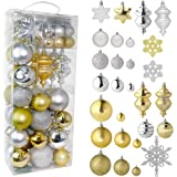 RN'D Christmas Snowflake Ball Ornaments - Christmas Hanging Snowflake and Ball Ornament Assortment Set with Hooks (Gold & Sil