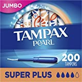 Tampax Pearl Tampons with Plastic Applicator, Super Plus Absorbency, Unscented, 50 Count- Pack of 4 (200 Count Total) ( packa