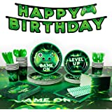 """Decorlife 200 PCS Video Game Party Supplies for 24, Gaming Birthday Deocorations for Boys, 54"""" x 108"""" Tablecloth, Popcorn Box"""