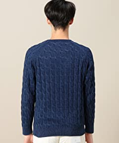 Cotton Cable Crewneck Sweater 1213-106-3117: Navy