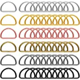 60 Pieces Metal D Rings D-Shape Buckle Clips Mixed Color D-Rings for DIY Accessories (1.18 Inch)