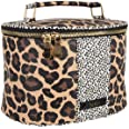 Nicole Miller Makeup Bag, Travel Toiletry Case, and Cosmetic Bag- Large Makeup Organizer with Top Handle (Animal Print)