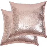 Poise3EHome 18x18inches Sequin Pillow Covers Satin Decorative Pillowcases for Throw Pillows, Couch, Bed, Outdoor, Christmas (