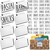 Talented Kitchen 8 White Clip Label Holders w/ 40 Pantry Labels. Bins, Baskets, Boxes Pantry Organization Solution. Removable