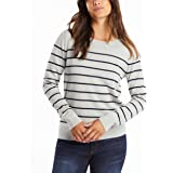 NAUTICA Women's Year-Round Long Sleeve100% Cotton Striped Crewneck Sweater, Red, X-Small