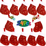 VEYLIN 24Pack Christmas Mini Stockings, Glitter Snowflake Star with Plush Cuff Knit Socking for Room Ornaments (8in)