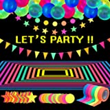 Glow Party Supplies Neon Party Supplies Set, Includes 98.4 Feet 6 Rolls UV Blacklight Reactive Tape Luminous Tape, 43.2 Feet