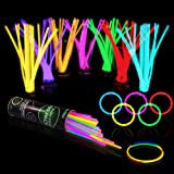 "100 Glow Sticks Bulk Party Supplies - Glow in The Dark Fun Party Pack with 8"" Glowsticks and Connectors for Bracelets and Nec"
