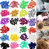 VICTHY 140pcs Cat Nail Caps, Colorful Pet Cat Soft Claws Nail Covers for Cat Claws with Glue and Applicators Medium Size