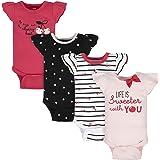 Gerber baby-girls 4-pack Short Sleeve Onesies Bodysuits