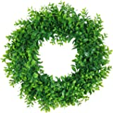 """Pauwer Artificial Green Leaves Wreath 18"""" Boxwood Wreath Farmhouse Greenery Wreath for Front Door Hanging Wall Window Party D"""