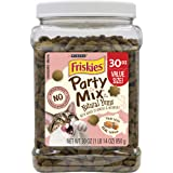 Purina Friskies Made in USA Facilities, Natural Cat Treats, Party Mix Natural Yums With Real Salmon - 30 oz. Canister