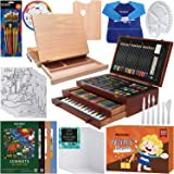 MEEDEN Drawing Kit with Tabletop Easel, Three Drawers with Oil Watercolor Acrylic Paints and Oil Pastel All You Need to Start