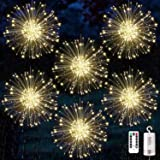 6 Pack Firework Lights Copper Wire Led Starburst Lights, Dimmable Battery Operated Hanging Lights with 8 Modes, Remote Contro