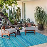 Santex Single Layer Outdoor/Indoor Plastic Rug,Easy to Clean,Mildew, UV, Stain and Water Resistant(Blue,6x9 Feet)