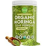 MAJU's Organic Moringa Powder (1 Pound), Oleifera Leaf, Extra-Fine Quality, Dried Drumstick Tree Leaves, Tea, Smoothies, Food