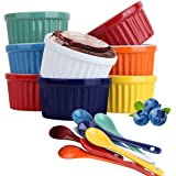 Souffle Dish Ramekins for Baking – 6 Ounce (Set of 8, Assorted Colors with 8 Extra Spoons) 6 Oz, 3.5-inch Ceramic Oven Safe R
